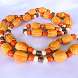 Wood Bead Necklace in Browns
