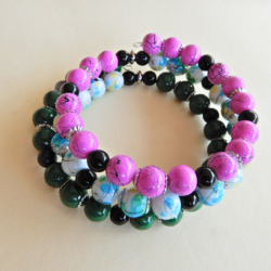 Colourful Wrap Bracelet in Green, Pink & Blue and White