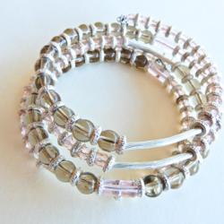 Pink Silver & Grey Wrap Bracelet
