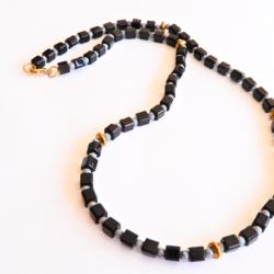 Men's Black Grey & Gold Necklace