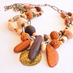 Boho Style Wood Bead and Chain Necklace