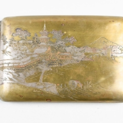 A JAPANESE BRASS CIGARETTE CASE