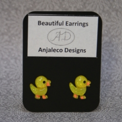 Dina Duck – Beautiful Earrings – 14mm x 13mm – Hypo-allergenic Studs