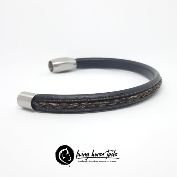 Distressed Leather Unisex Mens Stainless Steel Magnetic Clasp and Horsehair Braided Bracelet