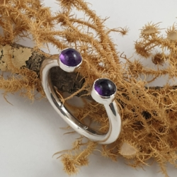Double Amethyst (Purple) Open Stack Ring
