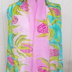 Handpainted silk scarf – Proteas all over