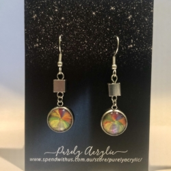 Multi-Coloured: Stainless Steel Drop Earrings