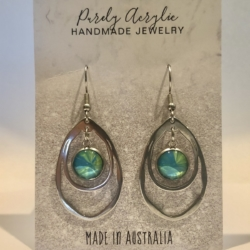 Green & Blue: Stainless Steel Drop Earrings