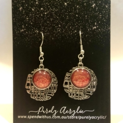 Rose Pink with Gold Hues: Stainless Steel Drop Earrings