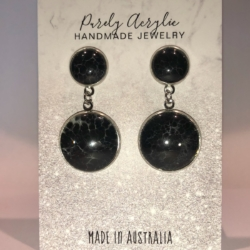 White & Black: Stainless Steel Drop Earrings/Studs (Set B)