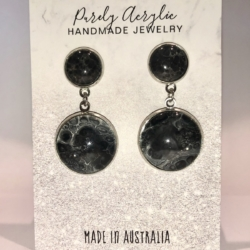 White & Black: Stainless Steel Drop Earrings/Studs (Set A)