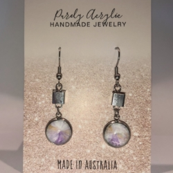 Pastel Coloured: Stainless Steel Drop Earrings