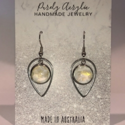 White & Gold: Stainless Steel Teardrop Earrings