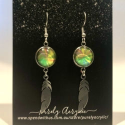 Green, Yellow & Orange: Stainless Steel Feather Drop Earrings