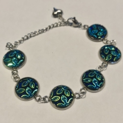 Floral Green: Stainless Steel Bracelet