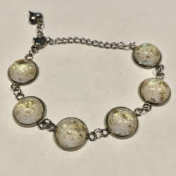 White with Flecks of Gold: Stainless Steel Bracelet