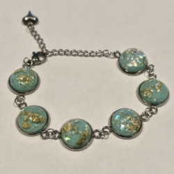 Pale Green with Flecks of Gold: Stainless Steel Bracelet