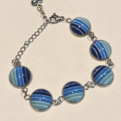 Lines Of Blue: Stainless Steel Bracelet