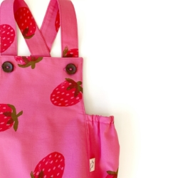 Pink Hand Printed Strawberry Romper