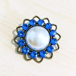 Faux Pearl with Swarovski Crystal Brooches