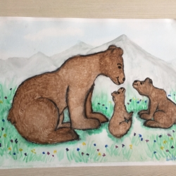 'Bear Family Trio' Framed or Unframed Original Mixed Media Illustration
