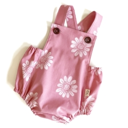 Pink Hand Printed Daisy Romper