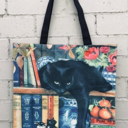 Tote Bag. Library Cat Black