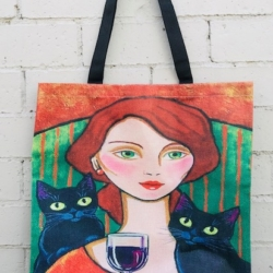 Tote Bag. Cats and Wine