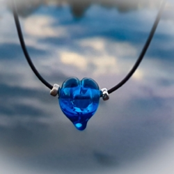 Blue lampwork love heart necklace