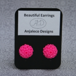 Matilda – Hot Pink – Flower Earrings – 14mm – Hypo-allergenic Studs