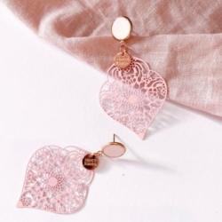 Blush Concrete & Pink Metal Lace Earrings