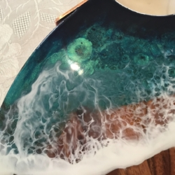 Ocean themed, copper handle cheese board