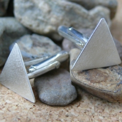 Brushed Sterling Silver Cufflinks