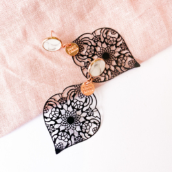 Marble Concrete & Metal Lace Earrings
