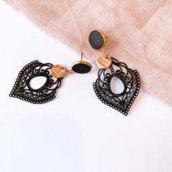 Black Concrete & Vintage Metal Lace Earrings