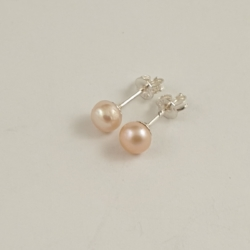 Pinkish Freshwater Pearl Sterling Silver Studs