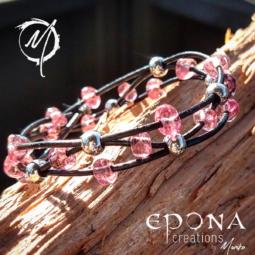 Pretty in Pink beaded black leather bracelet