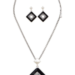 Black Silver Necklace/pendant with matching earrings set – LAST ONE – FREE POSTAGE