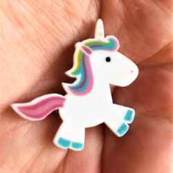 Rainbow and White Unicorn Badges / Pins / Brooches