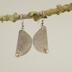 Reticulated Sterling Silver Semicircle Earrings