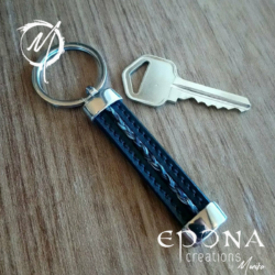 Stainless Steel , Leather Key ring fob with braided horsehair