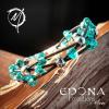 Teal Green glass beaded leather bracelet boho style handmade close up in sun light