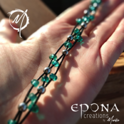 Teal Green glass beaded leather bracelet