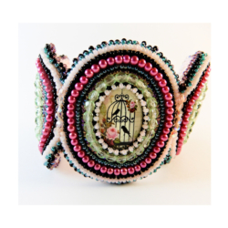 Bead Embroidery Cabochon Bracelet Cuff