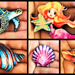 Pretty Mermaid, Shell and Turtle Brooches / Shawl Pins / Embellishments – 5 stlyes