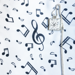Black musical notes scarf with matching necklace set – FREE POSTAGE