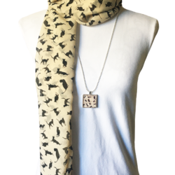 Black cats scarf with matching necklace set – FREE POSTAGE – 14 other designs available in our store.