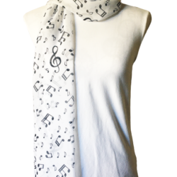 Black musical notes scarf – FREE POSTAGE – 14 other designs available in our store.