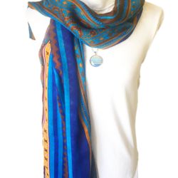 Blue Boho scarf with matching necklace set – FREE POSTAGE
