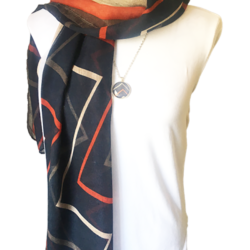 Blue Zig Zag scarf with matching necklace set – FREE POSTAGE – 14 other designs available in our store.